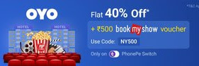 PhonePe Switch Offer - Get 50% Off and Rs.500 BookMyShow Voucher On  OYO
