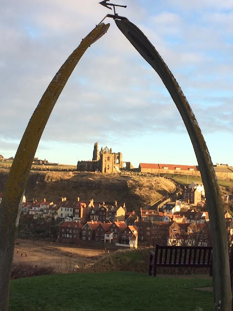Favourite place in the North whalebones framing Whitby Abbey