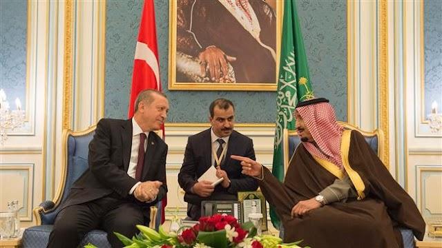 Turkish President Recep Tayyip Erdogan meets Saudi Arabia's King Salman bin Abdulaziz ahead of Syria peace talks