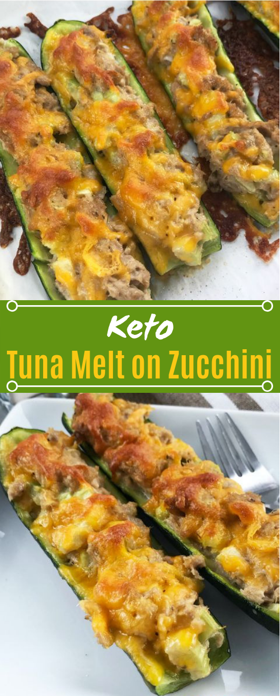 Keto Tuna Melt on Zucchini #healthy #lowcarb