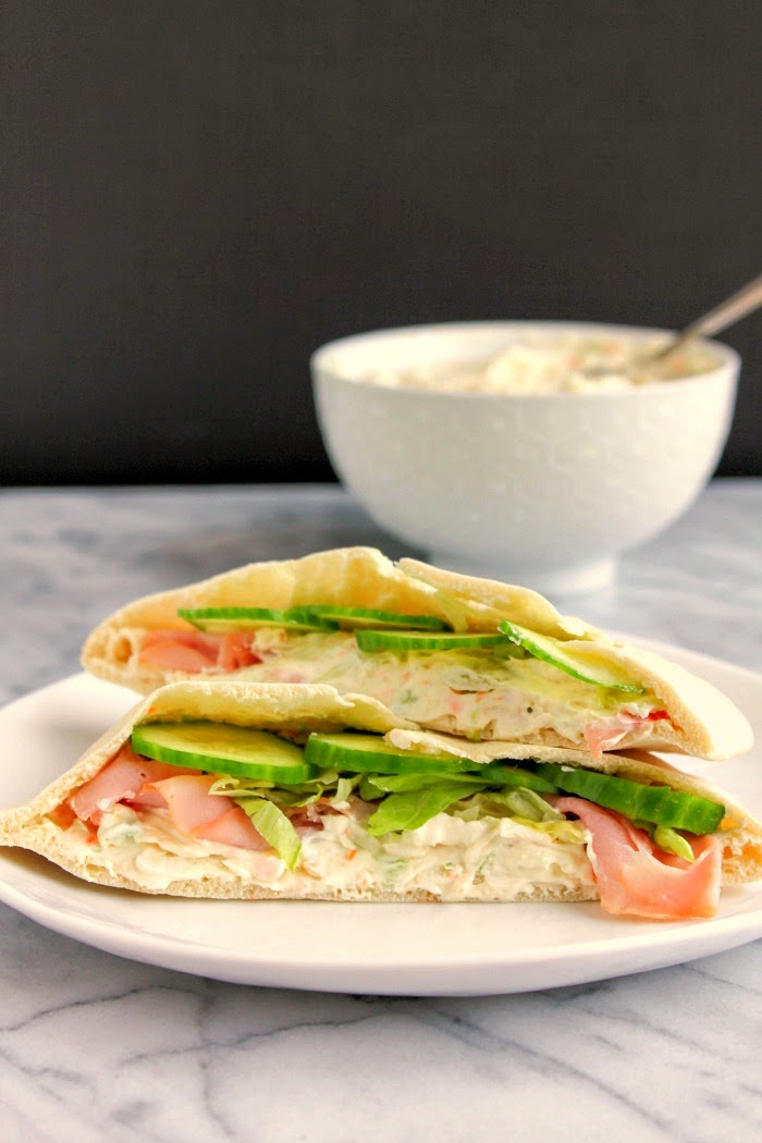 Ham & Cheese Pita Pockets with Homemade Veggie Cream Cheese | The Chef Next Door