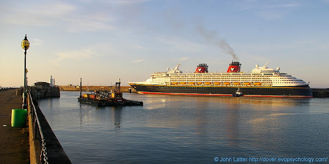 Disney Magic cruise ship from Stockholm (Sweden) to Oslo (Norway). Waasland in Dover to remove wreck of Spanish Prince, World War I blockship. View from Prince of Wales Pier of Cruise Terminal 2 (CT2), Admiralty Pier, Western Docks.