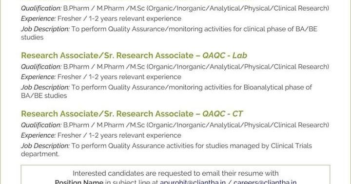 Urgent Vacancy in Cliantha Research ltd