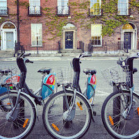 images of Dublin: Dublin Bikes and the Georgian buildings of Fitzwilliam Square