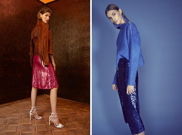 Красная и синяя юбки с пайетками