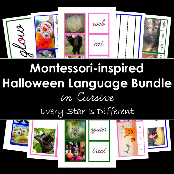 Montessori-inspired Halloween Language Bundle in Cursive