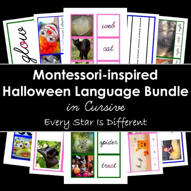 Montessori-inspired Halloween Language Bundle in Cursive