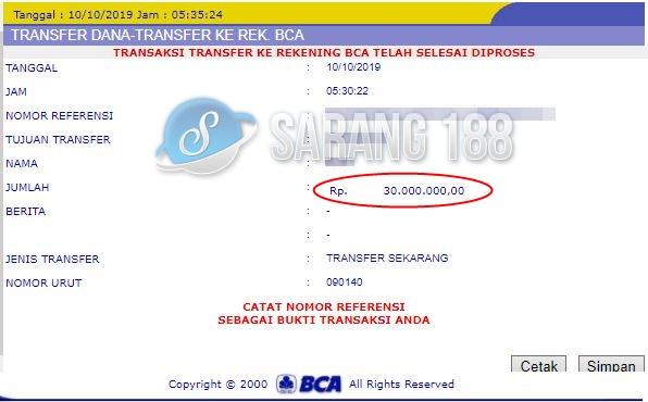 Bukti Transfer Sarang188 Selamat Kepada Member Sarang188 Atas Withdraw Rp 30 000 000