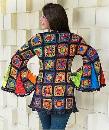 De mis manos tejidos y mas chompa con cuadrados - Cuadraditos de crochet ...