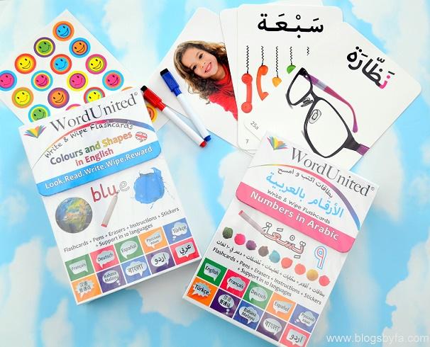 word united english and arabic flashcards