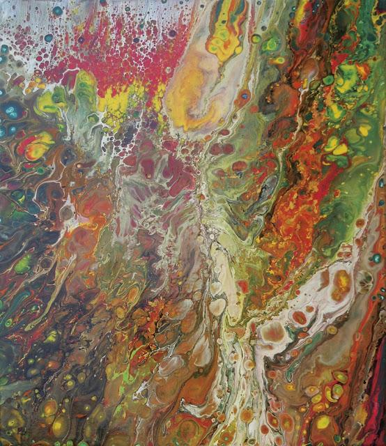 Peinture de Mercedes Lafuente - Explosion dans les teintes vert rouge jaune et brun