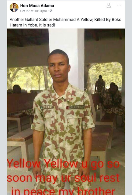 Photo of another young soldier killed by Boko Haram in Yobe State