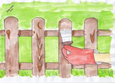 tinta permanente João Pires Pintar as cercas em madeira do jardim