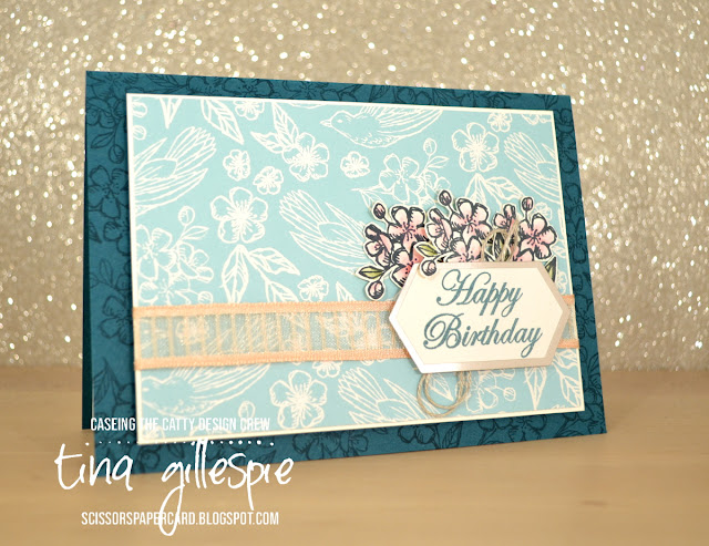 scissorspapercard, Stampin' Up!, CASEing The Catty, Hugs From Shelli, Magnolia Blooms, Varied Vases, Bird Ballad DSP, Paper Pumpkin, Watercolour Pencils
