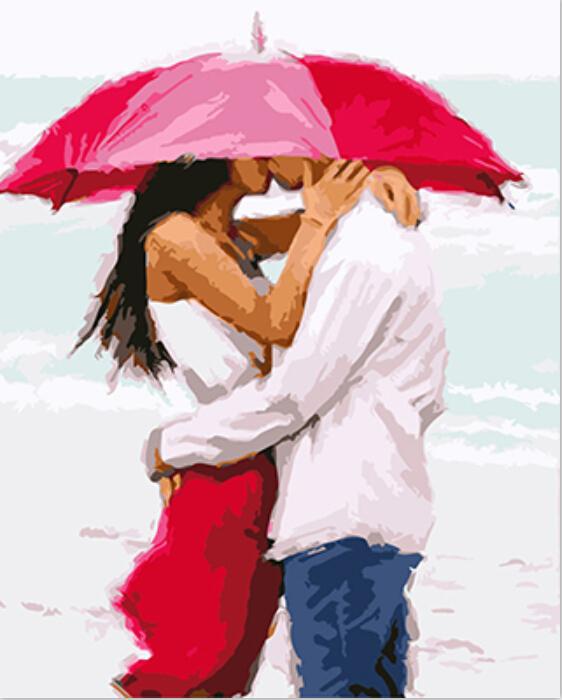 Para zakochanych namalowana farbami olejnymi na płótnie z numerami.