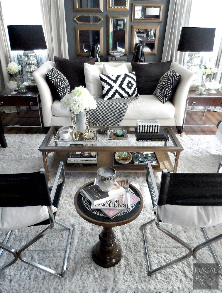 focal point styling thrifted chic black white living room on