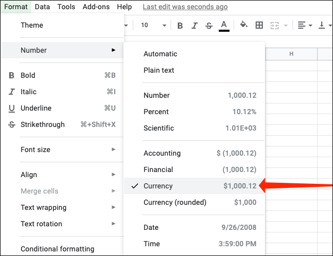 انقر فوق العملة ضمن التنسيق> الرقم في جداول بيانات Google
