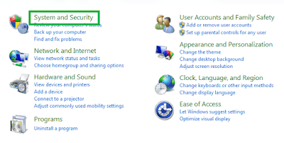 Control Pnael System and Security - Windows Update