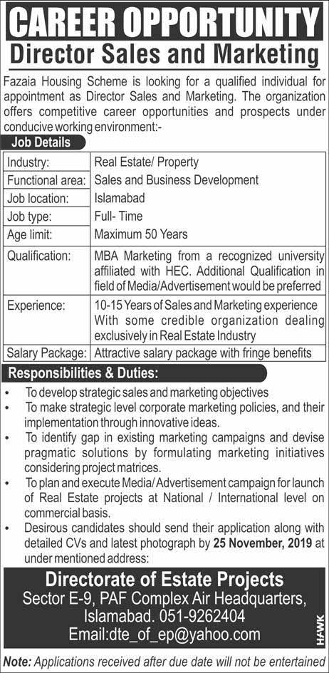 Director Sales and Marketing Jobs in Islamabad