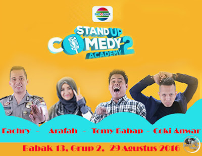 Stand Up Comedy Academy ( SUCA ) 2, 13 Besar, Grup 2 : Fachry, Arafah, Tomy Babap, Coki Anwar.