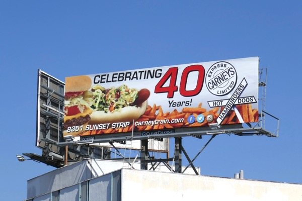 Carneys train hotdogs billboard