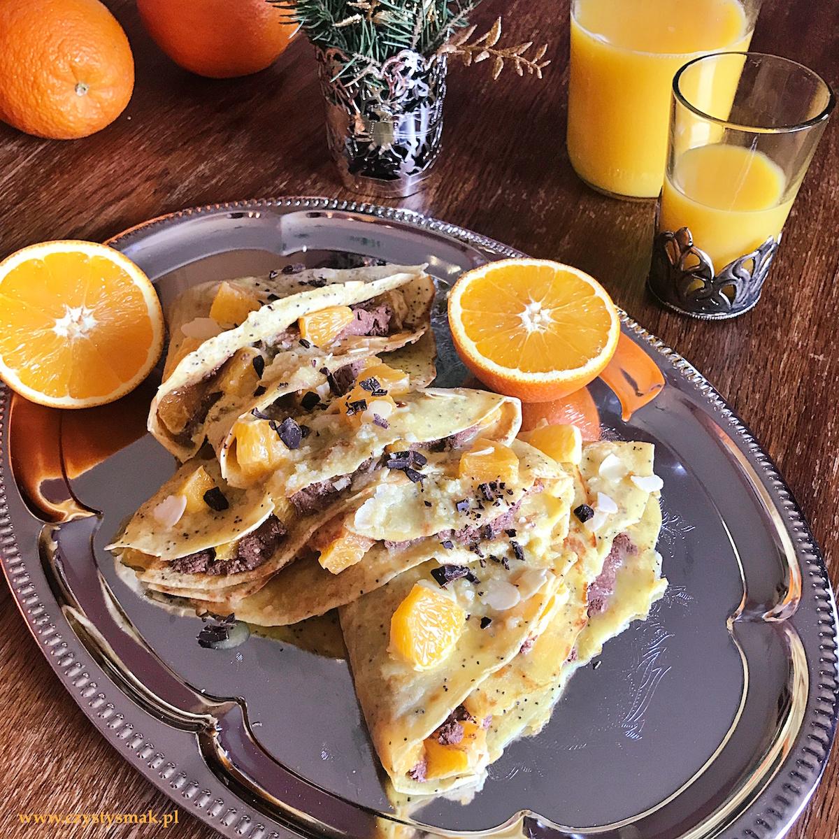 Pomarańczowe naleśniki z makiem i serem