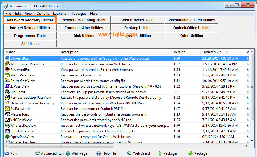 تصنيف Password Recovery Utilities