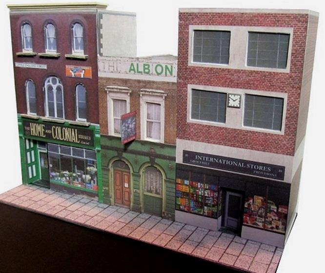 PAPERMAU: Little England Street Diorama Paper Model - by
