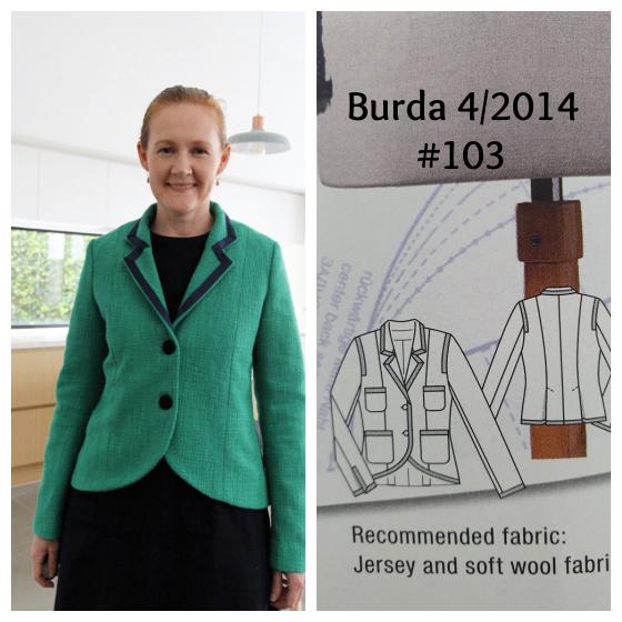 emerald green Mad Men style blazer Burda 4/2014 #103 www.loweryourpresserfoot.blogspot.com