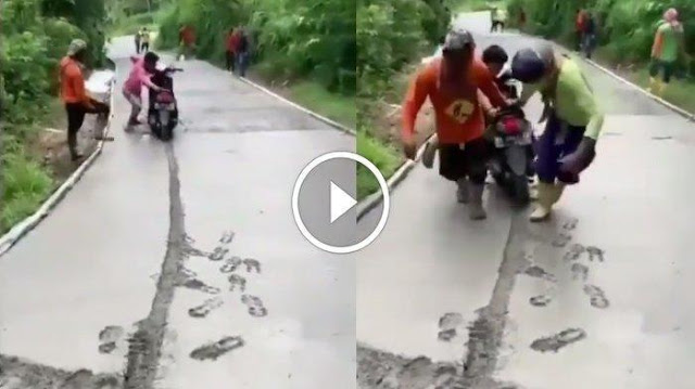 Viral Video Pemotor Terabas Jalan Dicor yang Masih Basah, Menjawab saat Dimarahi: Gak Lihat Pak