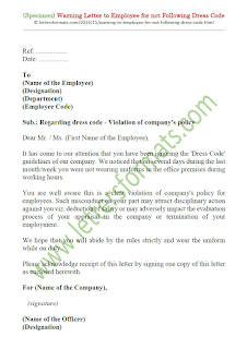 warning letter to employee for not following dress code