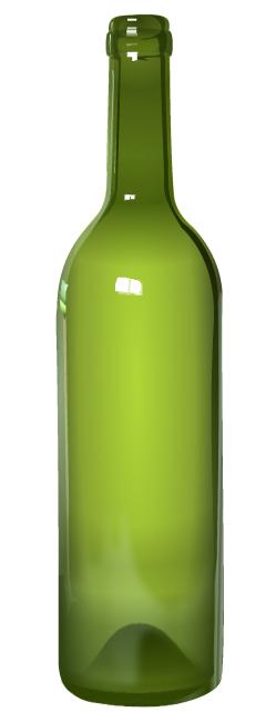 Botella de vidrio verde