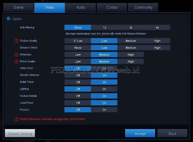 Fitur setting video Custom Mode Point Blank Beyond Limits