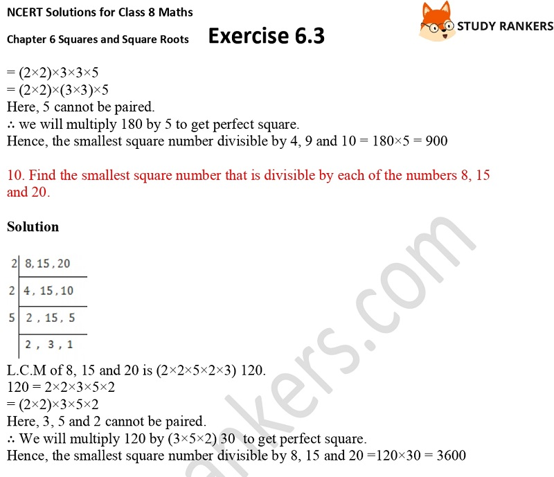 NCERT Solutions for Class 8 Maths Ch 6 Squares and Square Roots Exercise 6.3 20
