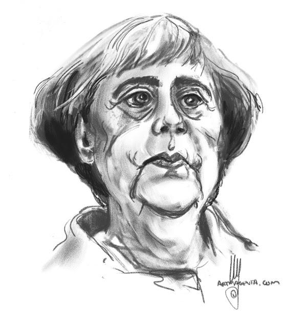 Angela Merkel caricature by Ulf Artmagenta