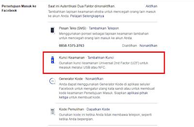 Cara membuat kunci keamanan facebook dengan USB U2F