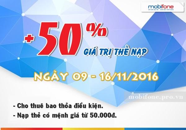 Mobifone tặng 50% giá trị thẻ nạp từ ngày 9 - 16/11/2016