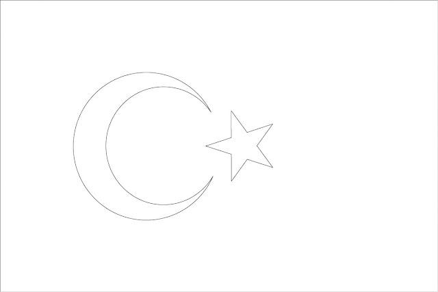 drapeau de la turquie à colorier