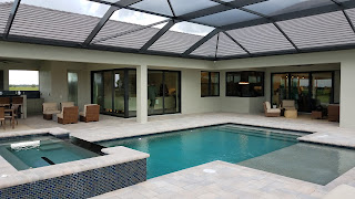 Hampton Lakes model home pool and spa