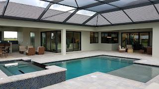 Hampton Lakes model home pool and spa