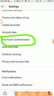 Instagram two factor authentication kese lgaye?