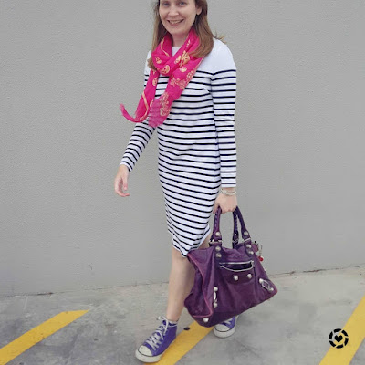 awayfromblue Instagram | long sleeve striped tee dress with navy white stripes purple accessories high tops balenciaga work bag