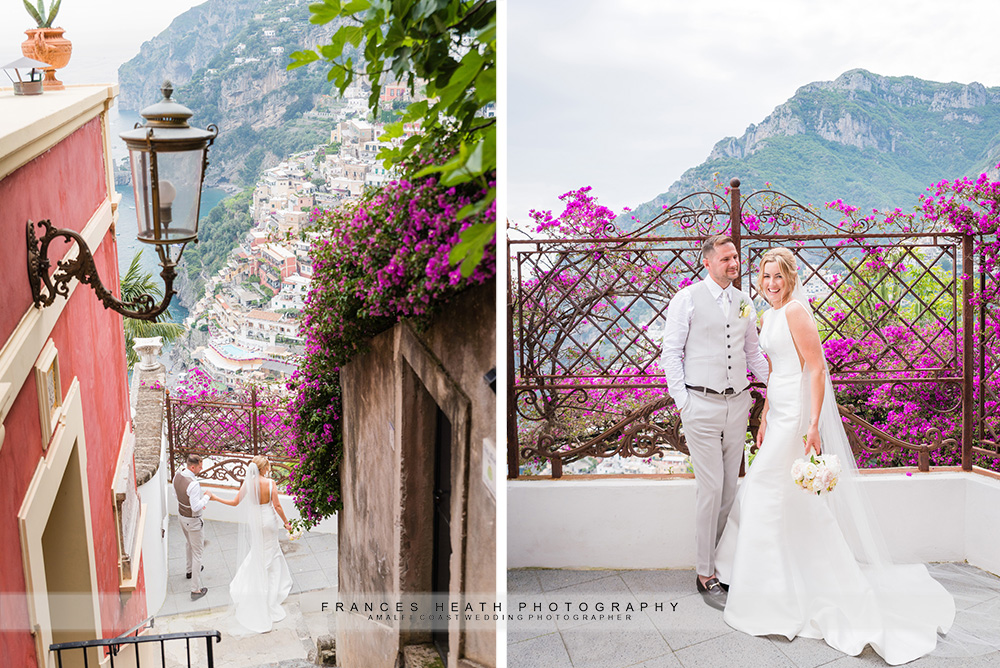 Bride and groom at Positano wedding