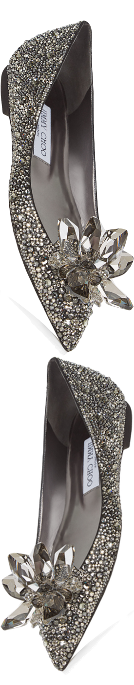 Jimmy Choo Attila Black Crystal Covered Pointy Toe Flats