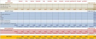 arkusz wydatków, budżet rodzinny