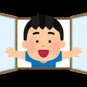 窓を開いて顔を出す男の子のイラスト