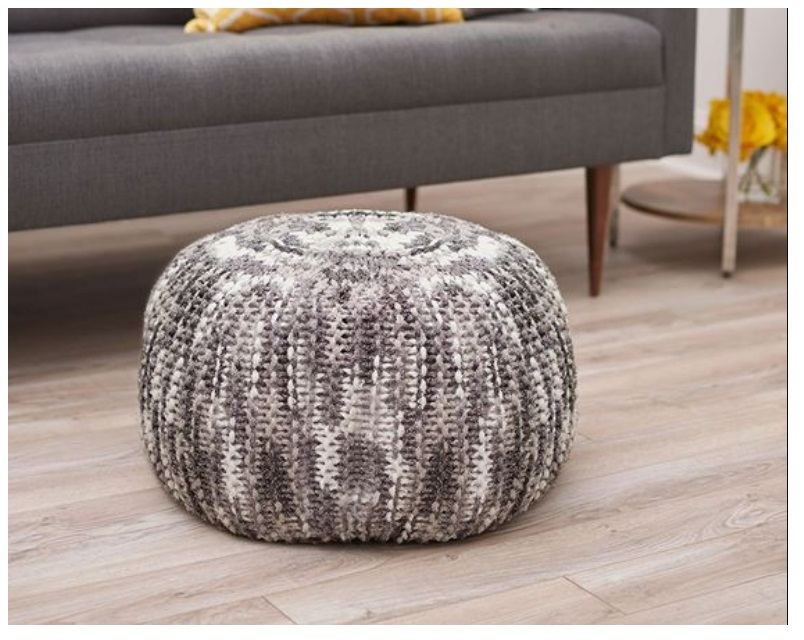 best cute round table with  dark grey linen crochet pouf for sofa corner