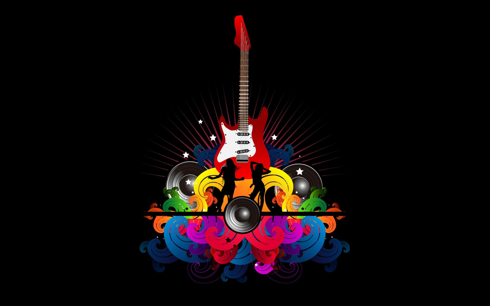 Color Guitar Abstract Graphic Wallpaper