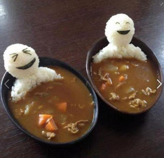 Photo-a-Day August Challenge, happy rice people in a bowl of soup