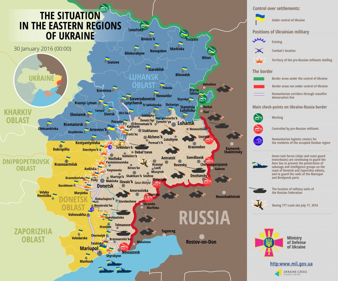The situation in the eastern regions of Ukraine (30 January 2016)
